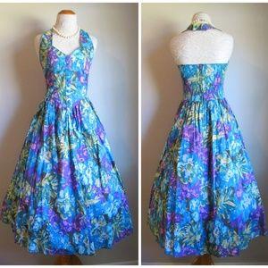EUC Vintage '80s Does '50s Halter Fit Flare Dress